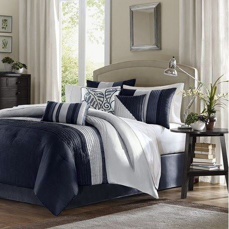 Amherst In Navy Blue And Cream Comforter Sets By Madison Park
