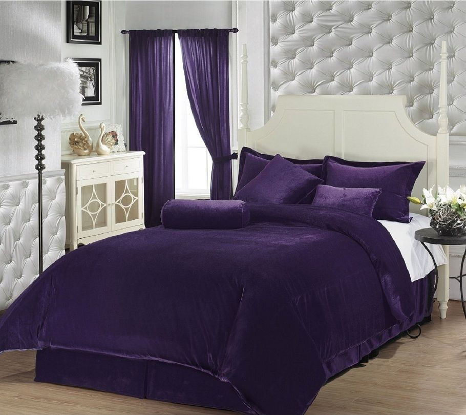 Purple Velvet Comforter In 2019 Purple Bedroom Decor