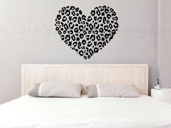 Cheetah print heart wall decal vinyl decal wall by ValdonImages  sc 1 st  Pinterest & Cheetah print heart wall decal vinyl decal wall by ValdonImages ...