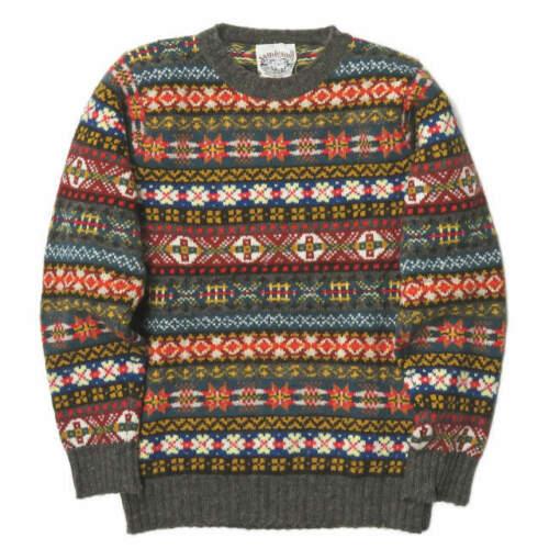 Jamieson's Made in Scotland Fair Isle crew neck knit M Gray