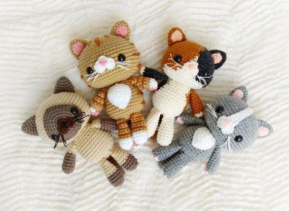 Pattern Bundle Crochet Kitty Cat Amigurumi Kitty Pattern Siamese ... | 416x570