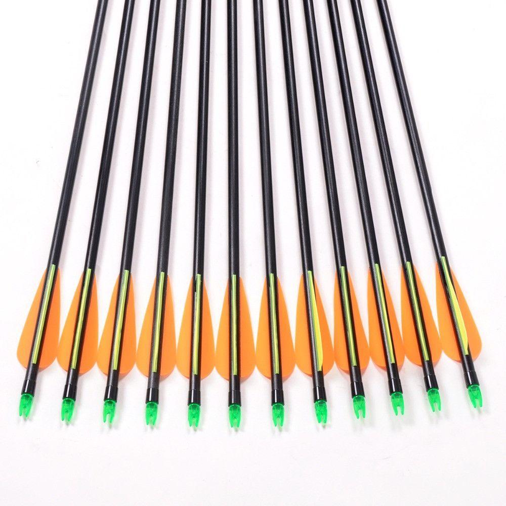 12pc Fiberglass Arrow 80cm Length of 3080lbs For Compound
