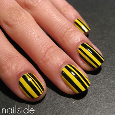 yellow and black nails