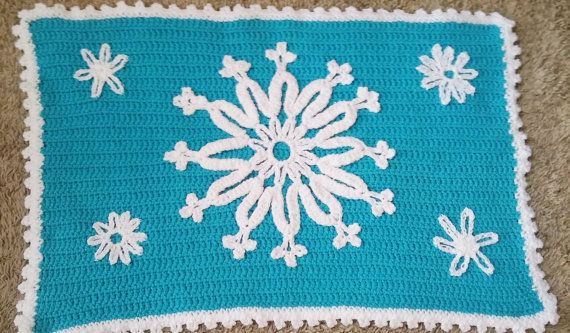 Frozen Rug Crocheted Rug Blue Rug Elsa Rug by TheCreativeMandM