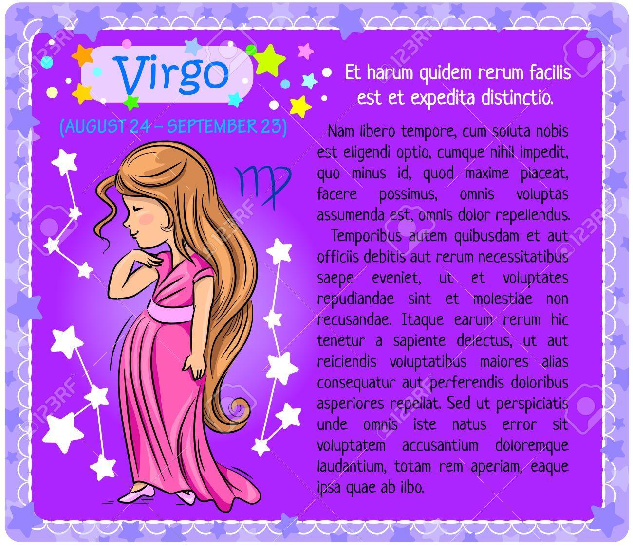 Chica Que Muestra Signo Del Zodiaco Virgo En Un Fondo De Color Morado Con Un Bloque De Texto Signo Del Zodiaco Virgo Signos Del Zodiaco Virgo Zodiaco