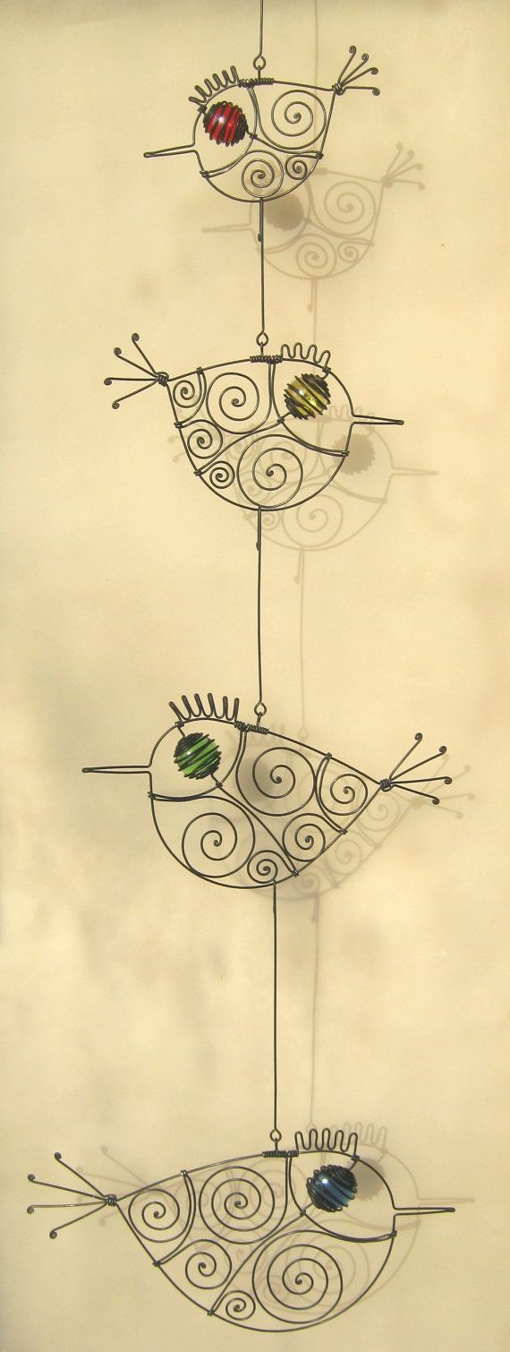 Wire Art Wall Decor, Four Wire Birds Mobile Sculpture, Gift For Her ...