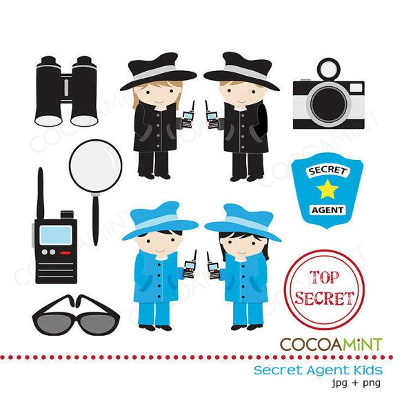 Secret Agent Kids Clip Art by cocoamint on Etsy, $4.00 | Holiday ...