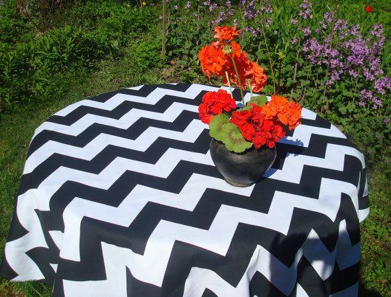 Black U0026 White Chevron Cotton Tablecloth 57 Square / By MilaStyle