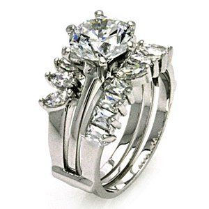 Sterling Silver Cubic Zirconia Engagement& Ring Guard Stone Diameter(7.8mm) Width(12.1mm) Sea of Diamonds. $75.00