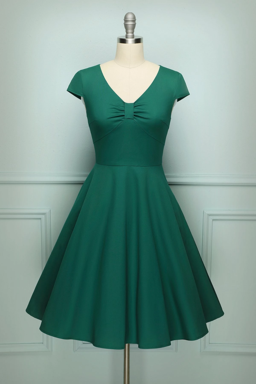 Retro Dark Green Swing Dresses Retro Inspired Dress Petticoat Dress [ 1500 x 1000 Pixel ]