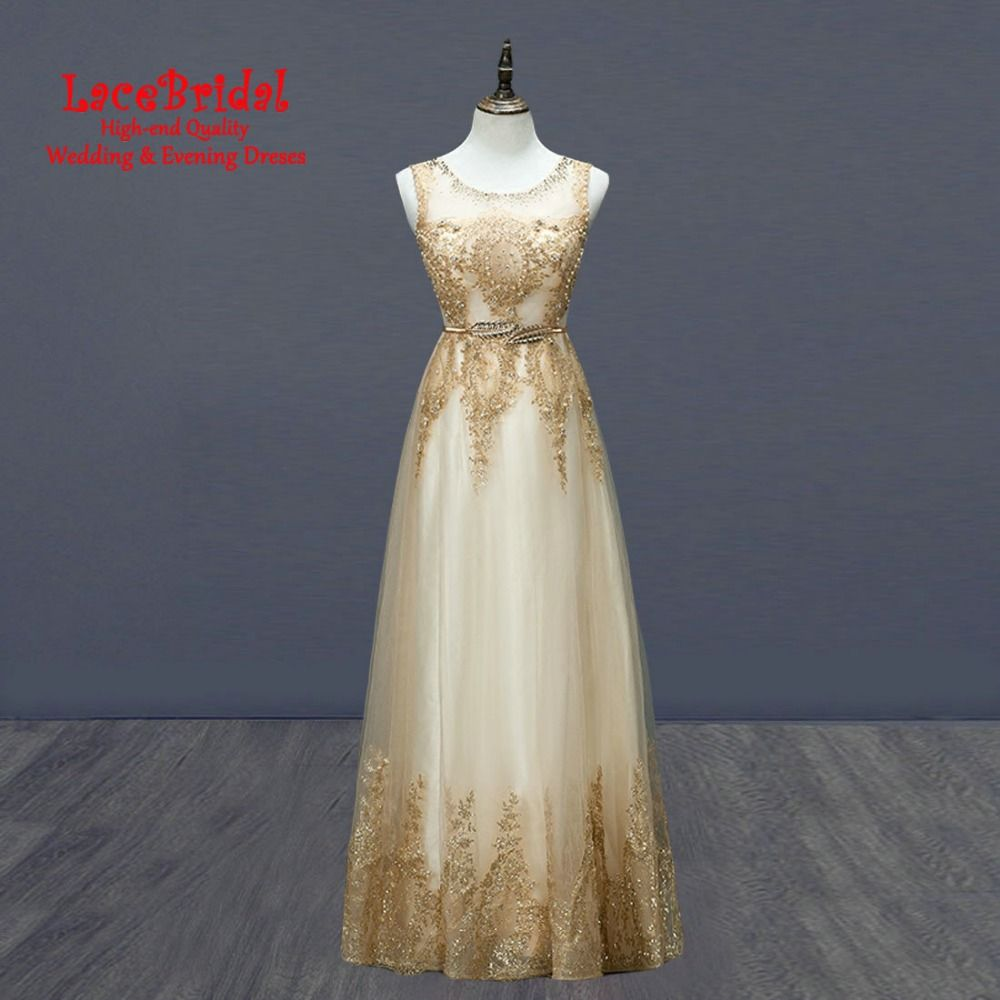 Find More Evening Dresses Information about Elegant Dubai Gold A Line Shiny Lace Evening Dresses 2016 with Belt Long Formal Party Prom Gowns vestido de festa longo TE153,High Quality Evening Dresses from LaceBridal on Aliexpress.com