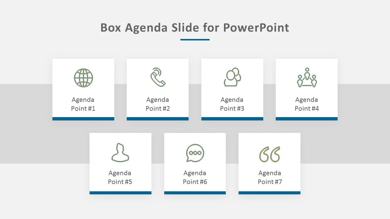 A Simple Easy To Edit Box Themed Agenda Slide For Powerpoint This