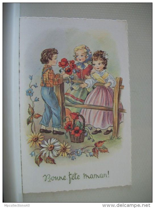 LOT 46 E DE 6 CARTES POSTALES ANCIENNES DIFFERENTES D'ENFANTS  BONNE FETE MAMAN