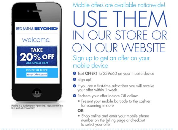 get bed bath and beyond coupons on your phone