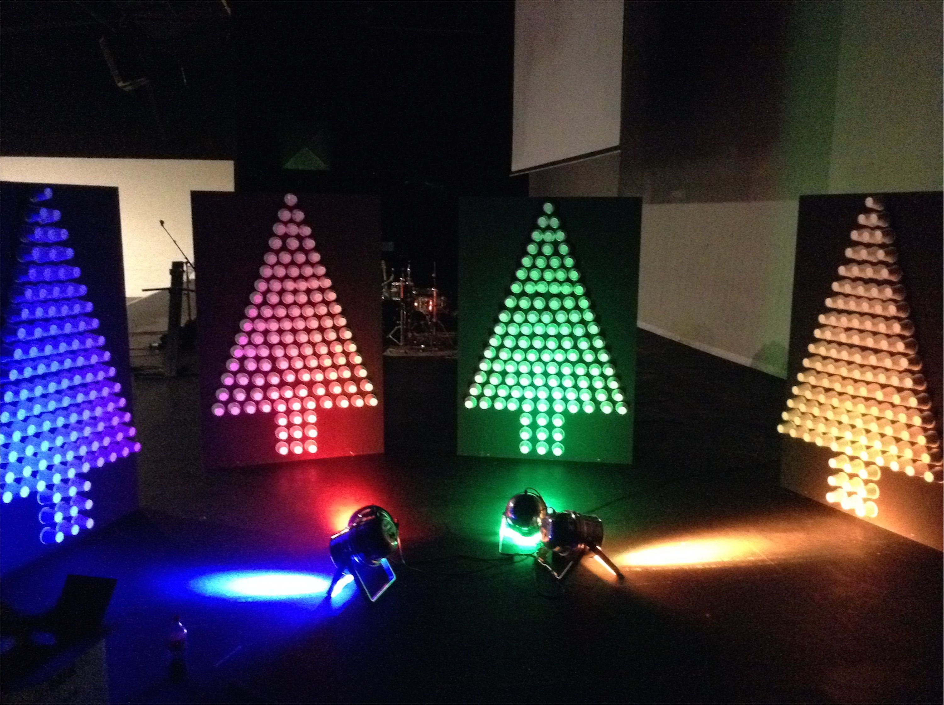 Cup Trees Christmas Stage Design Idea  Could Make Any Design, Really For Kidzone Stage