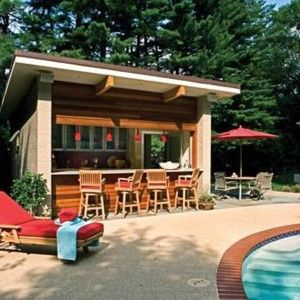Pool house plans with bar google search things i like for Pool shed with bar plans