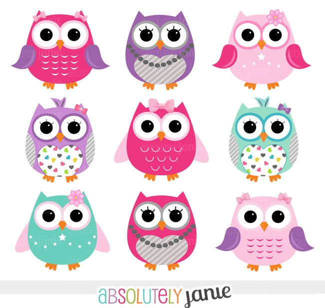 Girly Pink Purple Owls Digital Clipart - Clip Art {Painting} Owl