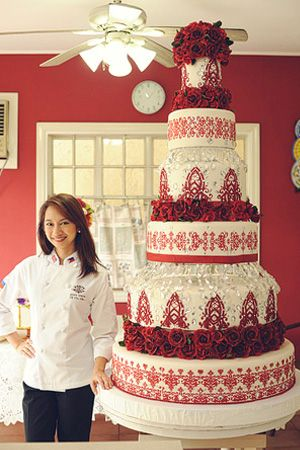 Cake Artist Judy Uson : A wedding cake with edible red roses for a special ...