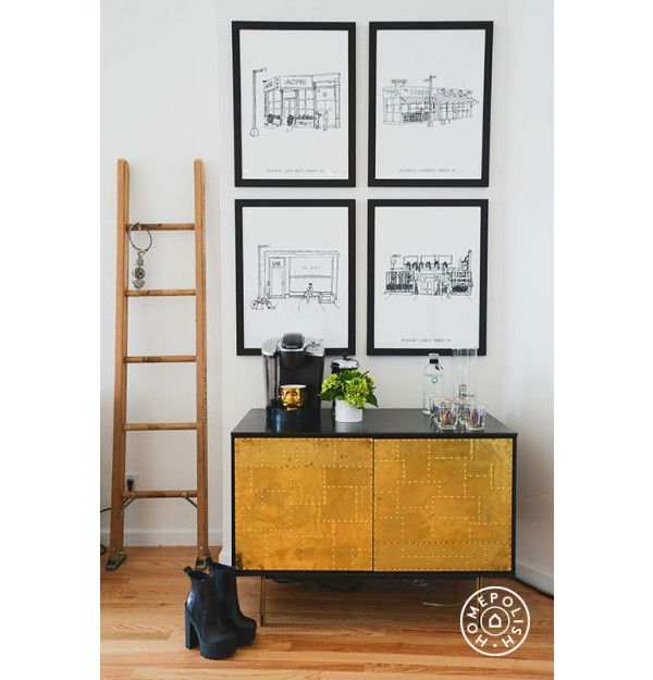 coffee carts for office a detail of prints above the bar cart in man repeller office82 coffee