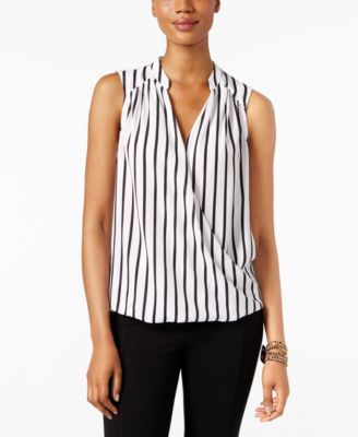 INC International Concepts Petite Striped Surplice Blouse, Only at Macy's | macys.com