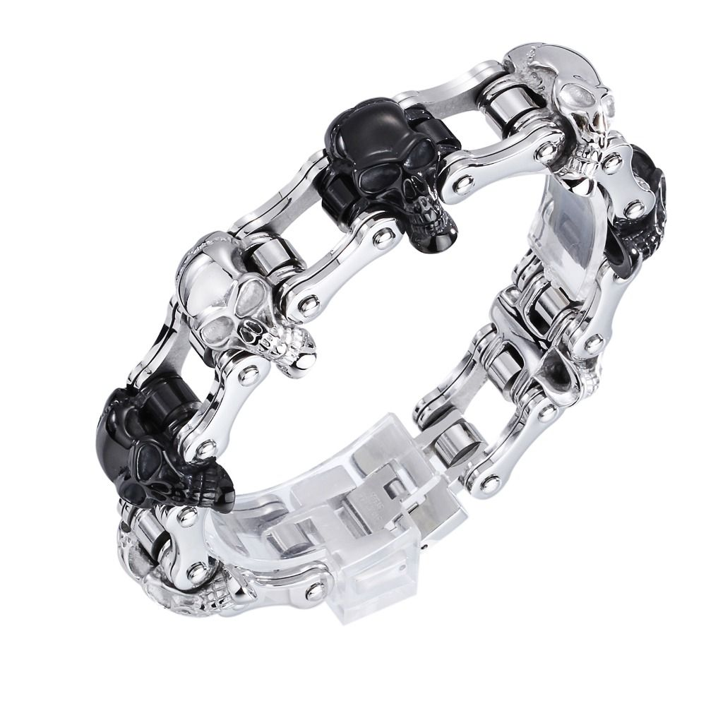 High Quality Punk Harley Jewelry Boys Mens Chain Skull Black Silver
