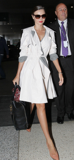 "Miranda Kerr- white coat nude shoe?......you got it ""Simply Luxurious"", thank you."