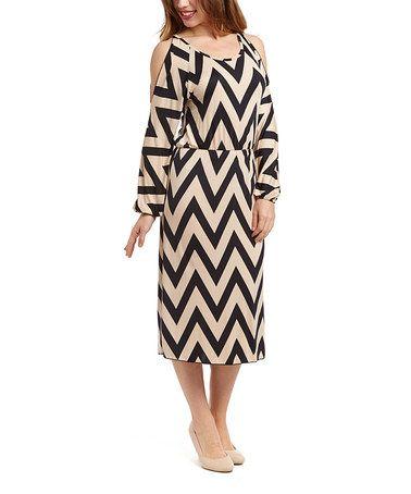 Black & Ivory Chevron Cutout Blouson Dress #zulilyfinds $17.99