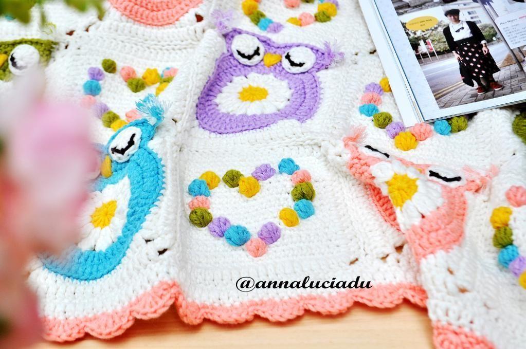 Crochet owl afghan/ blanket