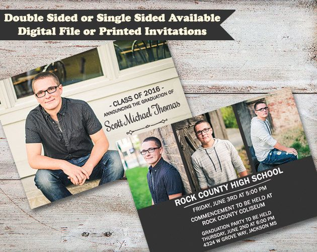 double sided graduation announcements high school graduate college