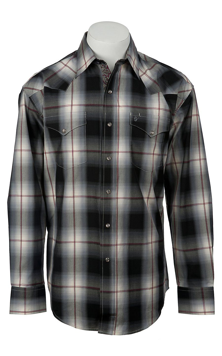 Stetson® Mens Black, Grey & Red Plaid Long Sleeve Western Snap Shirt 04780713BL | Cavender's Boot City