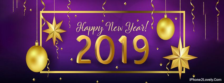Happy New Year 2019 Purple Yellow Facebook Covers Happy