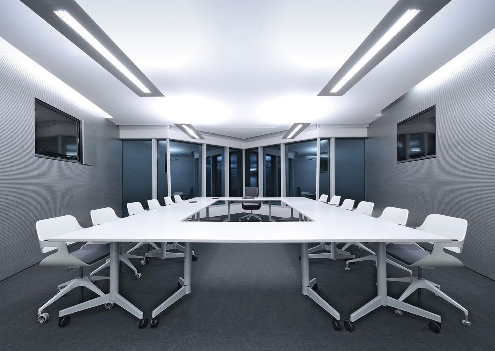 White folding meeting room table and silver chairs ORDER NOW