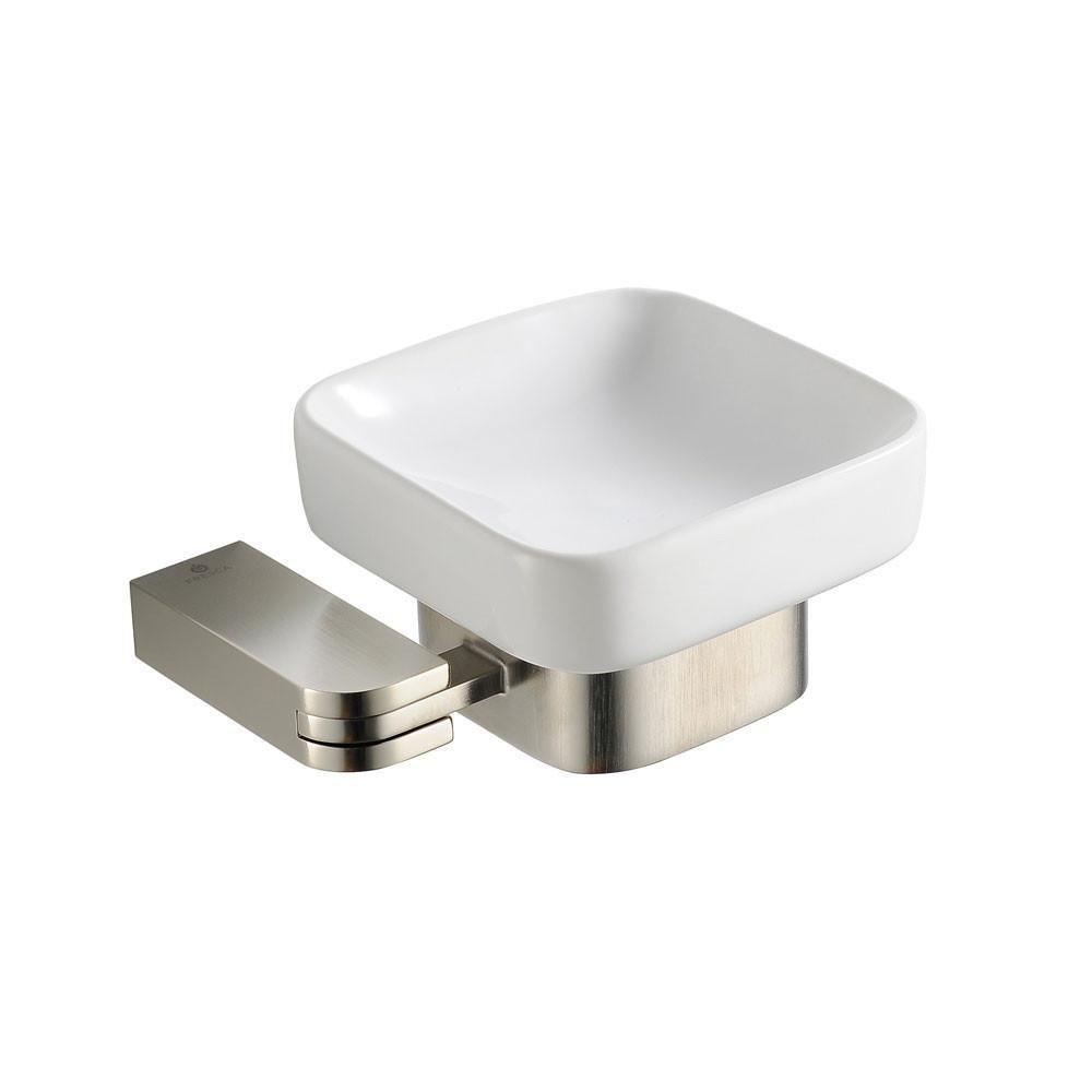 Fresca Solido Modern Square Brushed Nickel Bathroom Accessory Soap Enchanting Brushed Nickel Bathroom Accessories Design Ideas