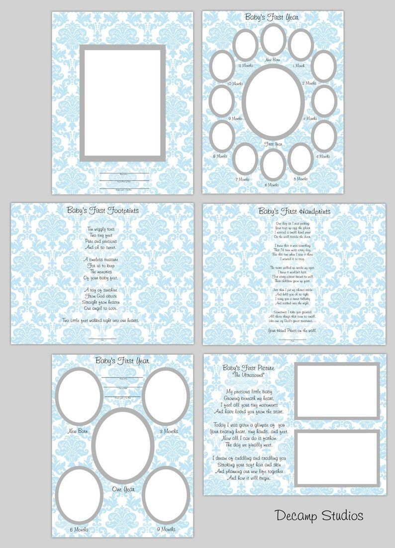 BABY BOY SCRAPBOOK Printable Quick Pages Blue Damask First ...