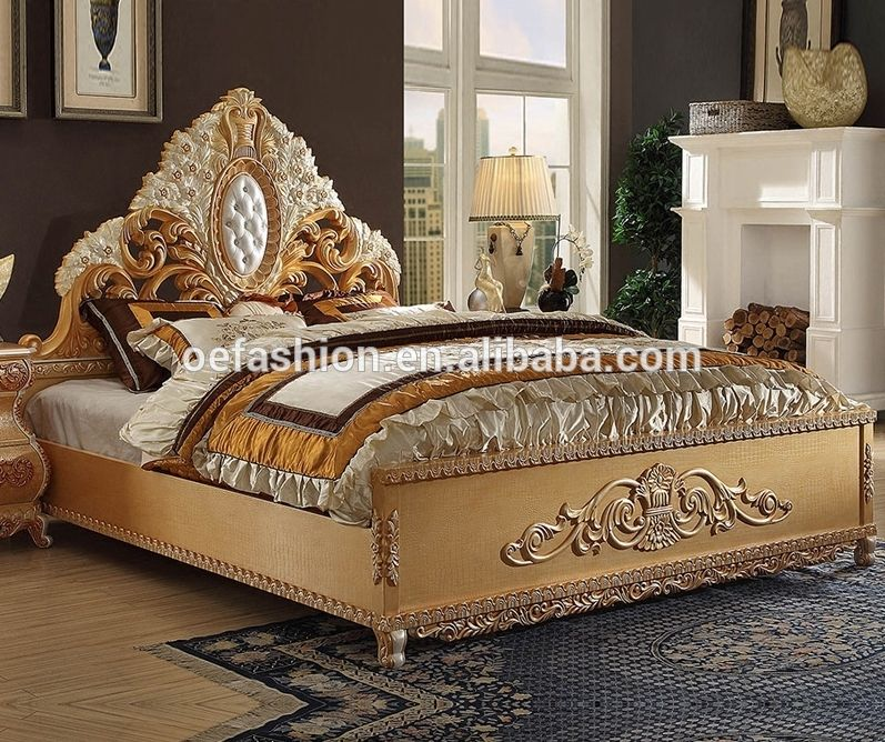 New Antique French Style Factory Price Solid Wood Latest Double Bed