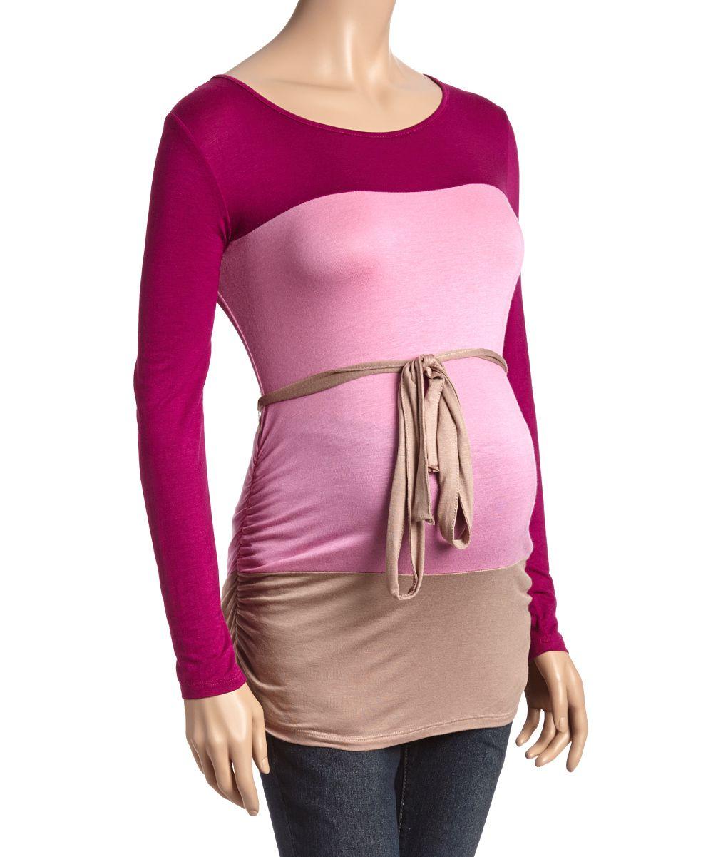 Hot pink maternity maxi dress  Berry u Plum Color Block Maternity TieWaist Top  Products
