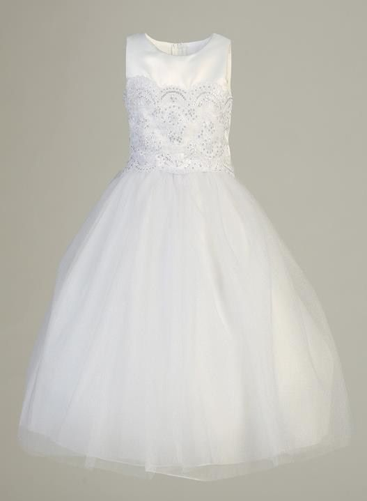 Meredith Dress - Satin and tulle Embroidered applique Tea-length Made in USA - $109.99