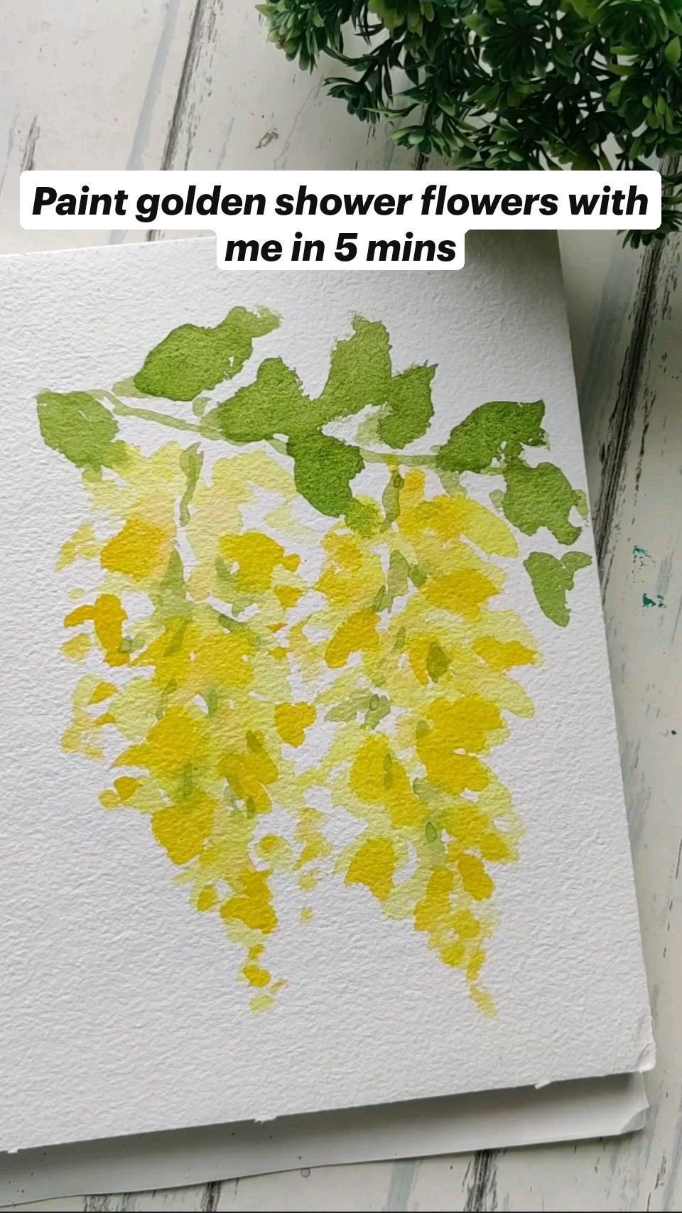 Paint Watercolor golden shower flowers with me in 5 mins