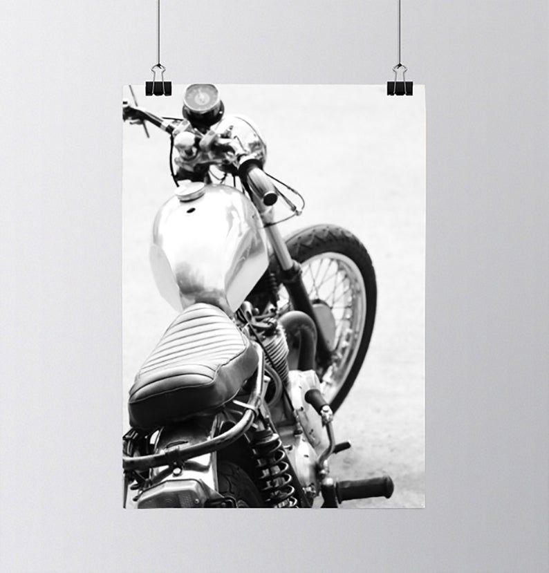 Black white classic vintage motorcycle photo wall art