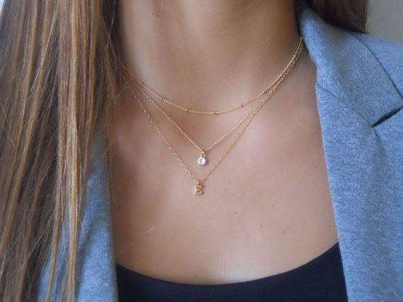 Gold Minimal Necklace Gold Simple Necklace Gold Delicate Necklace Crystal Necklace for Women Gold Layer Necklace Gold Dainty Necklace