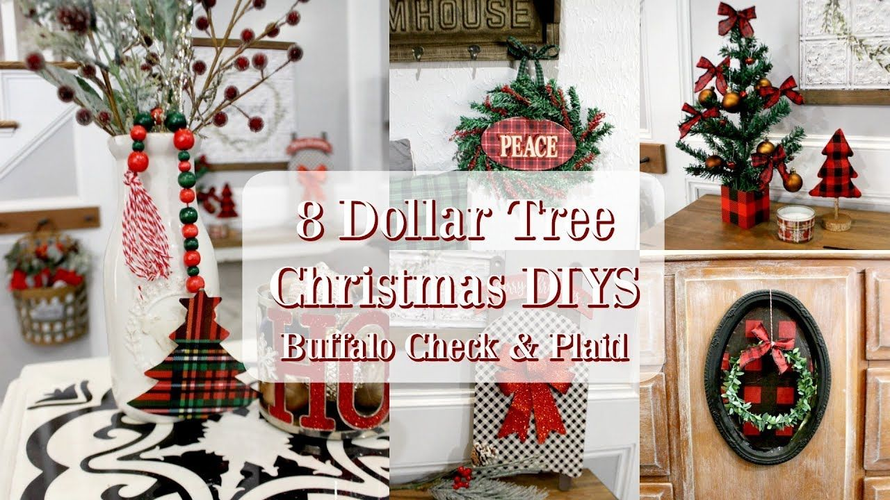 8 Dollar Tree Christmas Diys Buffalo Check Plaid Christmas Decor Youtube Dollar Tree Christmas Plaid Christmas Decor Buffalo Check Plaid Christmas