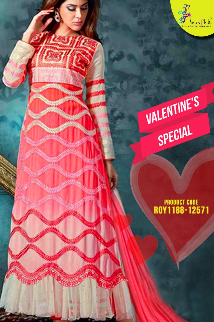 Peach Georgette #AnarkaliSuit A #classic and #trendy wear from the house of #Amafhh. Collection of elegant anarkali from the #latestdesigner wear to make you look elegant and #stylish this season. #womanwear #onlineshopping #latestcollection #newdesigns #salwarsuit #onlinesalwarsuit #designersuit #embroideredsuit