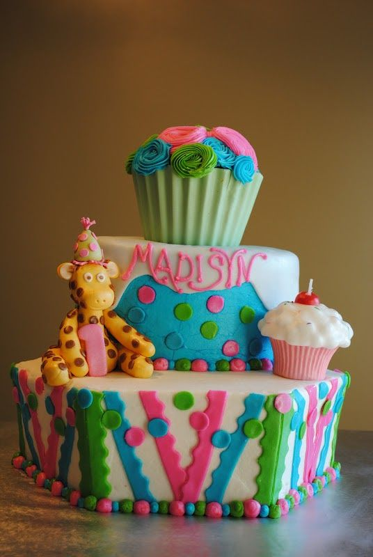 Cake Appeal Cupcake Themed Birthday Cake With Fondant Giraffe