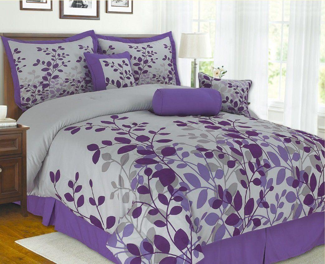 7Pieces Purple Flocking Leaf Comforter Set