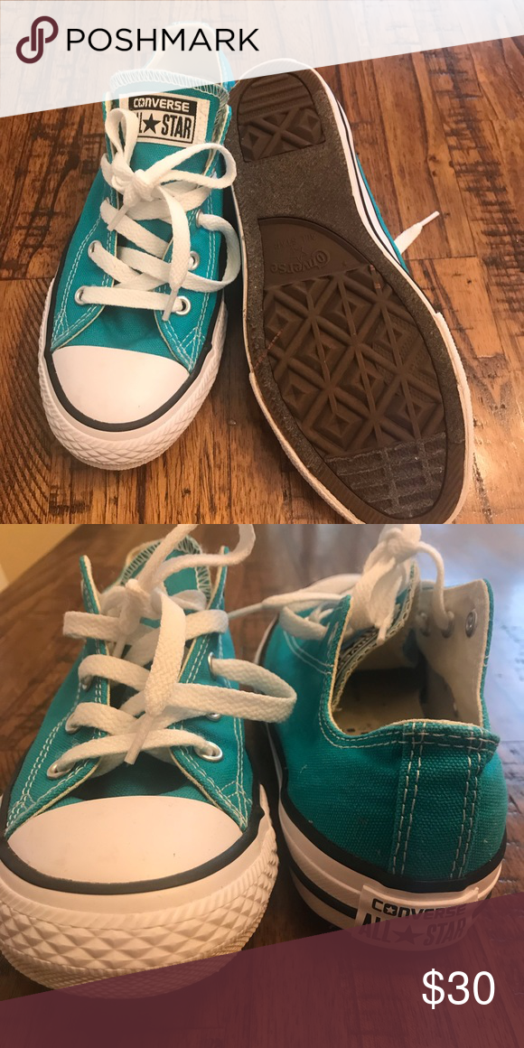 c692f512f84ea9 Turquoise Converse Wore only once! Almost brand new. Size 3 in kids aka size
