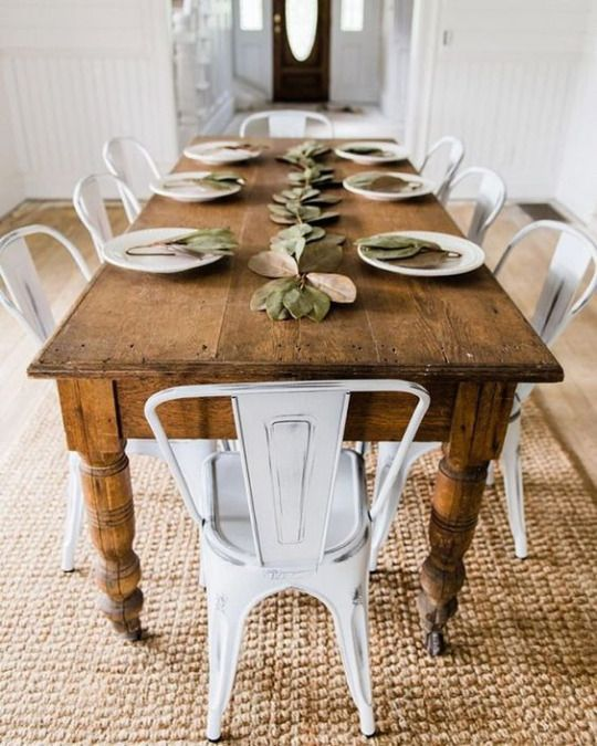 Farmhouse Touches Love The Harvest Table With These Metal Chairs And The Sis Farmhouse Dining Rooms Decor Farmhouse Dining Room Table Modern Farmhouse Dining