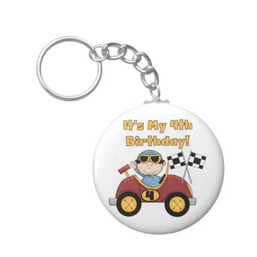Red Race Car 4th Birthday Tshirts and Gifts Keychain