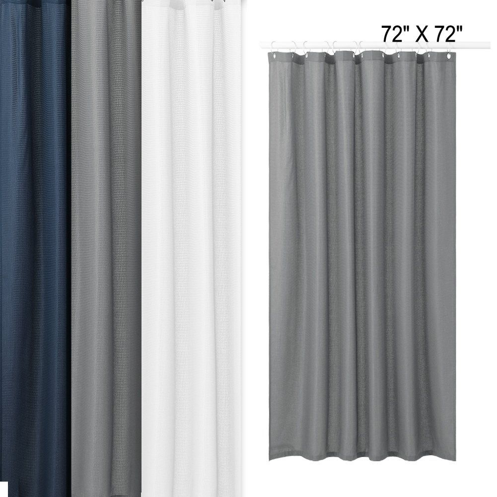 Idealhouse Fabric Shower Curtain Grey Waffle Weave Shower Curtains For Bathroom Mildew Waffle Weave Shower Curtain Gray Shower Curtains Fabric Shower Curtains