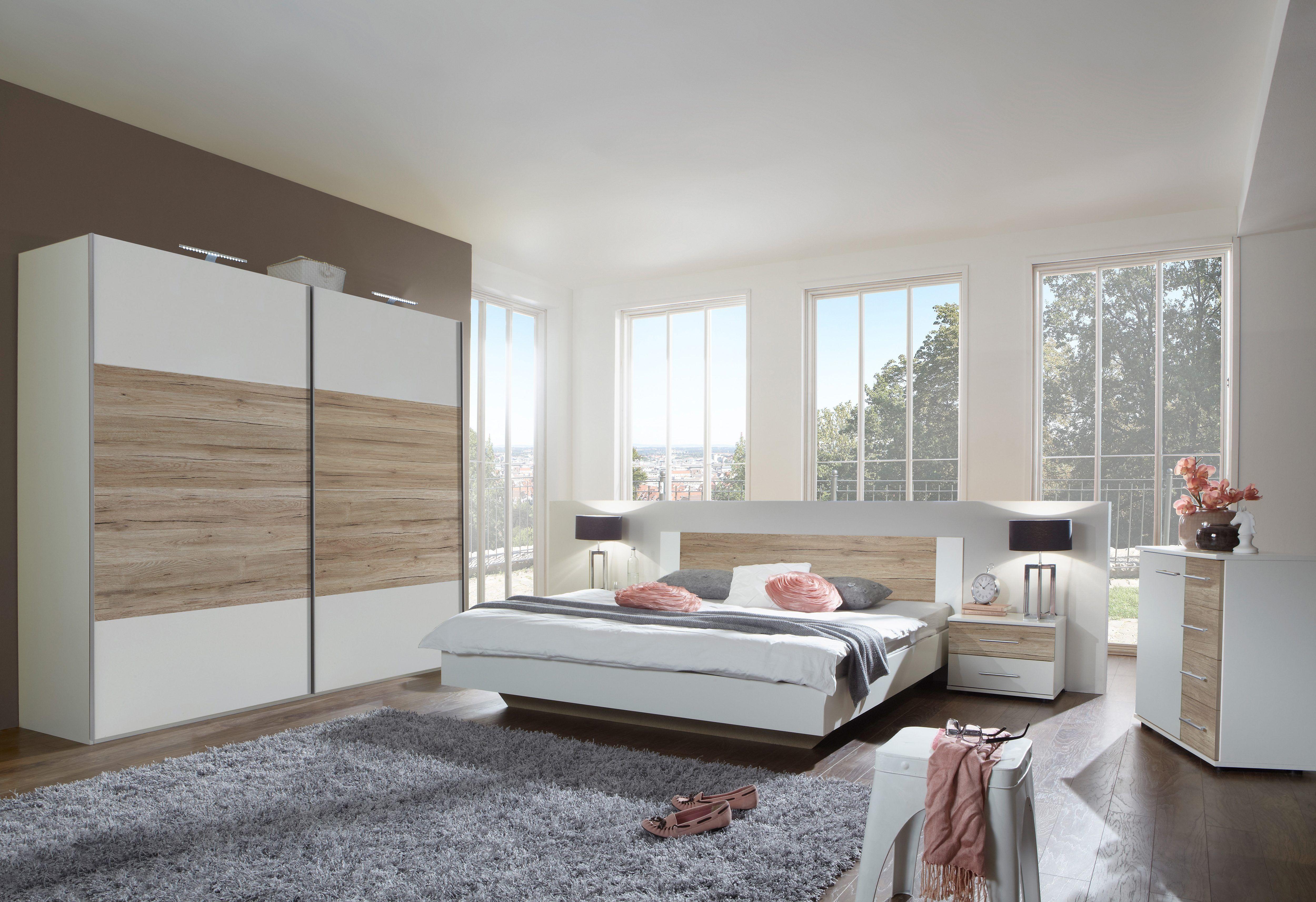 SchlafzimmerSet (4tlg.) beige, 160/200 cm, mit