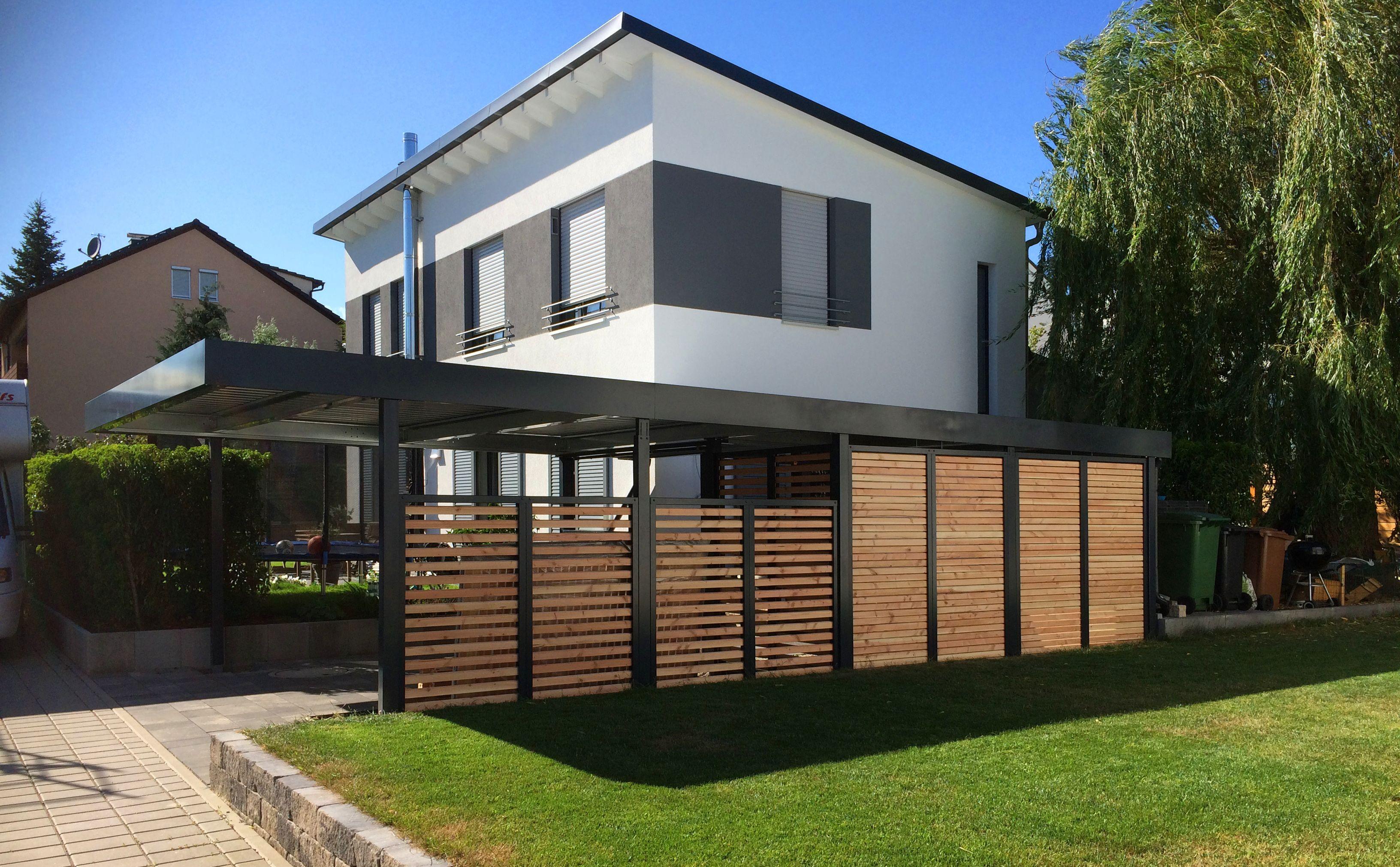 myport doppelcarport aus stahl mit integriertem ger teraum und wandelementen aus holz carport. Black Bedroom Furniture Sets. Home Design Ideas